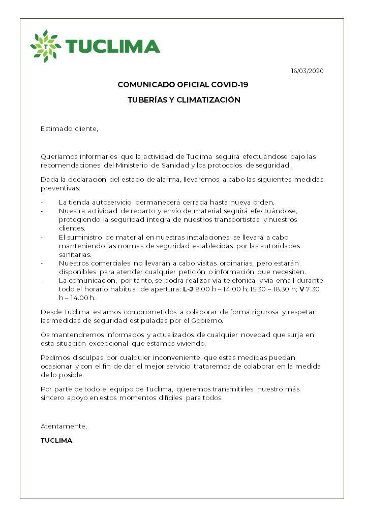 TUCLIMASL Comunicado Oficial