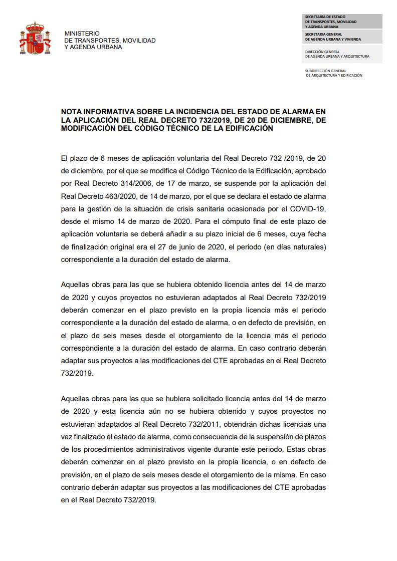 Nota Informativa sobre el Estado de Alarma por el COVID-19 y el CTE (Código Técnico de la Edificación)